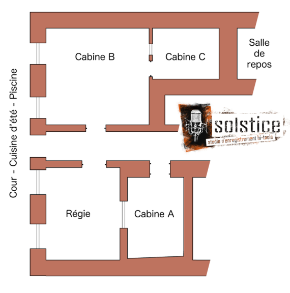 Plan du Studio d'enregistrement Solstice à Toulouse